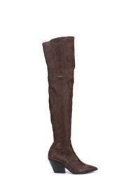Botas sobre la rodilla de cuero en marrón oscuro de Casadei