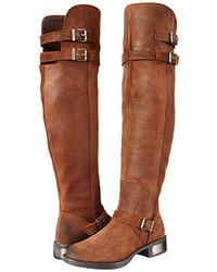 Botas sobre la rodilla de cuero marrónes
