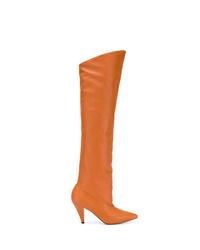 Botas sobre la rodilla de cuero naranjas de Givenchy