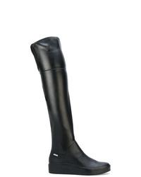 Botas sobre la rodilla de cuero negras de Calvin Klein