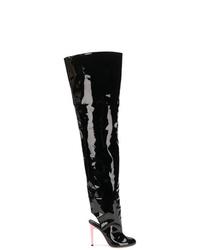 Botas sobre la rodilla de cuero negras de Natasha Zinko
