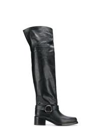 Botas sobre la rodilla de cuero negras de RED Valentino
