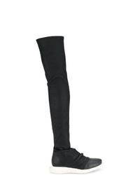 Botas sobre la rodilla de cuero negras de Rick Owens