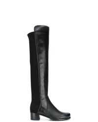 Botas sobre la rodilla de cuero negras de Stuart Weitzman
