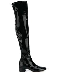 Botas sobre la Rodilla de Cuero Negras de Valentino Garavani
