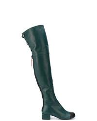 Botas sobre la rodilla de cuero verde oscuro de Marni