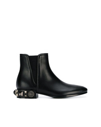 Botines chelsea de cuero con adornos negros de Dolce & Gabbana