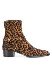 Botines chelsea de cuero de leopardo marrónes de Saint Laurent