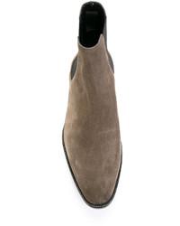 Botines chelsea de cuero grises de Saint Laurent