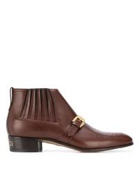 Botines chelsea de cuero marrónes de Gucci