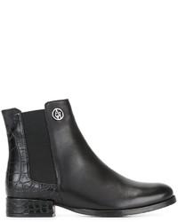 Botines Chelsea de Cuero Negros de Armani Jeans