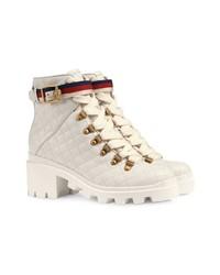 45751d62991fd ... Botines con cordones de cuero blancos de Gucci ...