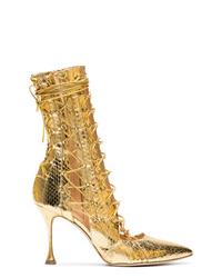 Botines con cordones de cuero con print de serpiente dorados de Liudmila