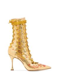 Botines con cordones de cuero dorados de Liudmila
