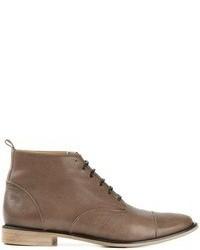 Botines con cordones de cuero marrónes de Neri Firenze