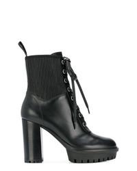Botines con cordones de cuero negros de Gianvito Rossi