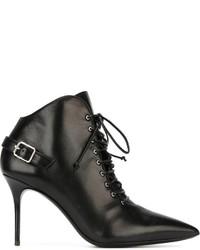 Botines con Cordones de Cuero Negros de Giuseppe Zanotti Design