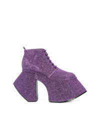 Botines con cordones en violeta
