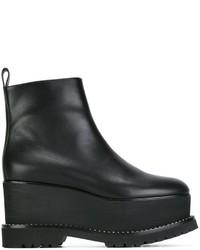 Botines con cuña de cuero negros de Givenchy