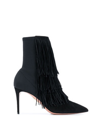 Botines de ante сon flecos negros de Aquazzura