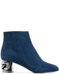 Botines de Cuero Azul Marino de Casadei