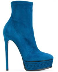 Botines de Cuero Azules de Casadei