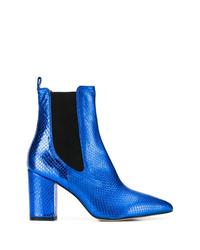 Botines de cuero azules de Paris Texas