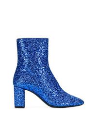 Botines de cuero azules de Saint Laurent