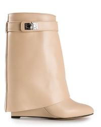 Botines de Cuero Beige de Givenchy