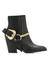 Botines de cuero con adornos negros de Versace Jeans Couture