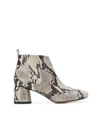 Botines de cuero con print de serpiente grises de Marc Jacobs