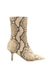 Botines de cuero con print de serpiente marrón claro de Yeezy