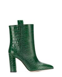 Botines de cuero con print de serpiente verdes de Paris Texas