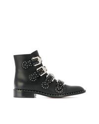 Botines de cuero con tachuelas negros de Givenchy