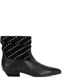 Botines de cuero con tachuelas negros de Saint Laurent