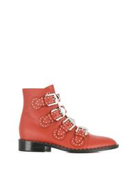 Botines de cuero con tachuelas rojos de Givenchy