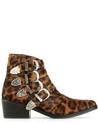 Botines de cuero de leopardo marrónes