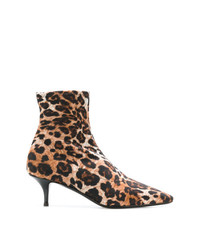 Botines de cuero de leopardo marrónes de Giuseppe Zanotti Design