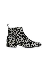 Botines de cuero de leopardo plateados de Dolce & Gabbana