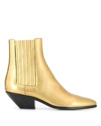 Botines de cuero dorados de Saint Laurent