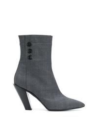 Botines de cuero en gris oscuro de A.F.Vandevorst