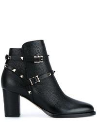 Botines de Cuero Negros de Valentino Garavani
