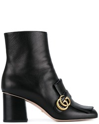 Botines de Cuero Сon Flecos Negros de Gucci