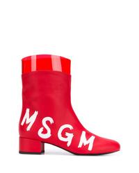 Botines de cuero rojos de MSGM