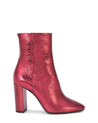 Botines de cuero rosa de Saint Laurent