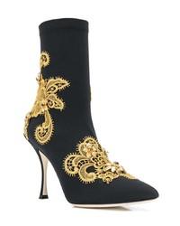 Botines de elástico bordados negros de Dolce & Gabbana