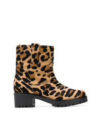 Botines de pelo de becerro de leopardo marrón claro de P.A.R.O.S.H.