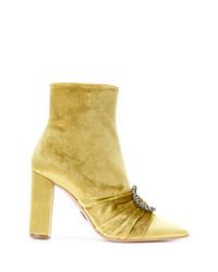 Botines de terciopelo dorados de Oscar Tiye