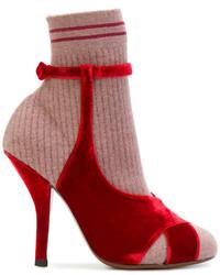 Botines de Terciopelo Rojos de Fendi