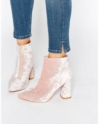 Botines de terciopelo rosados